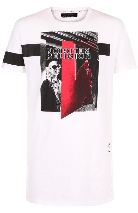 Купить Хлопковая футболка с принтом Religion, 28PAUG69, Португалия, Белый, Хлопок: 100%;