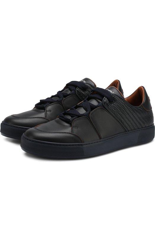 Купить Кожаные кеды на шнуровке Zegna Couture, A3068X-PSY, Италия, Темно-синий, Подошва-резина: 90%; Подкладка-кожа: 100%; Кожа: 100%; Подошва-кожа: 10%;