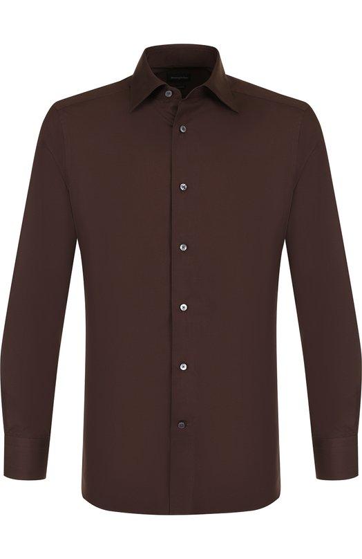 Купить Хлопковая сорочка с воротником кент Ermenegildo Zegna, 401066/9MS0BR, Турция, Темно-коричневый, Хлопок: 100%;