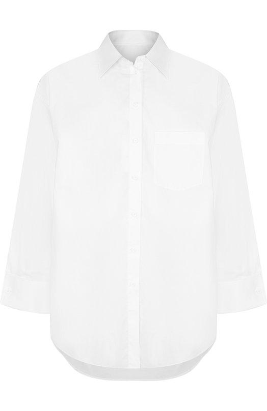 Купить Однотонная хлопковая блуза свободного кроя Mm6, S32DL0205/S47294, Италия, Белый, Хлопок: 100%;