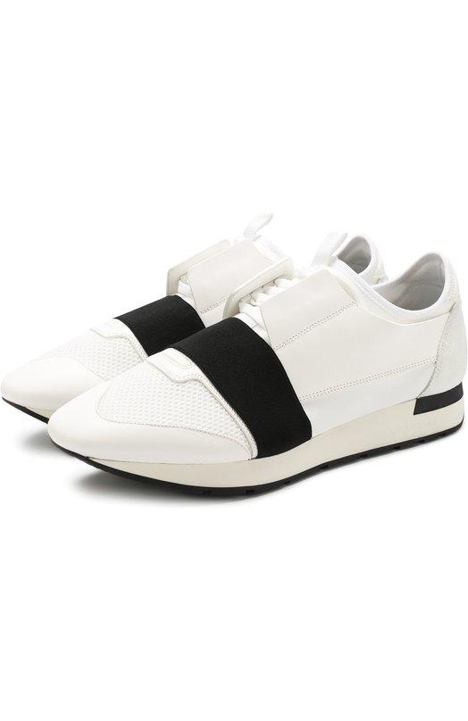 Купить Комбинированные кроссовки Race на шнуровке Balenciaga, 535391/W0YXS, Италия, Белый, Полиамид: 80%; Кожа: 60%; Текстиль: 40%; Подкладка-кожа: 100%; Подкладка-текстиль: 100%; Подошва-резина: 100%;