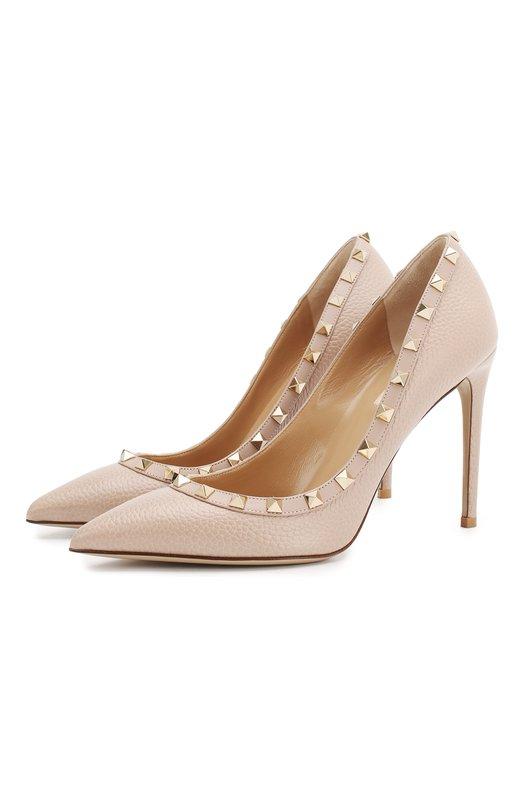 Купить Кожаные туфли Valentino Garavani Rockstud на шпильке Valentino, QW2S0057/VCE, Италия, Бежевый, Подошва-кожа: 100%; Подкладка-кожа: 100%; Кожа: 100%;