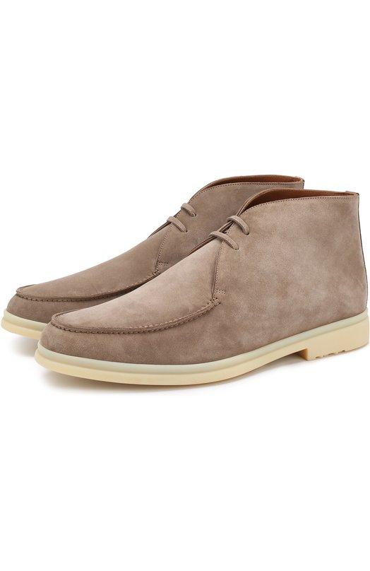 Купить Замшевые ботинки Walk And Walk на шнуровке Loro Piana, FAG3595, Италия, Темно-бежевый, Стелька-Кожа: 100%; Подошва-Резина: 100%; Замша натуральная: 100%; Подкладка-Кожа: 100%; Кожа: 100%;