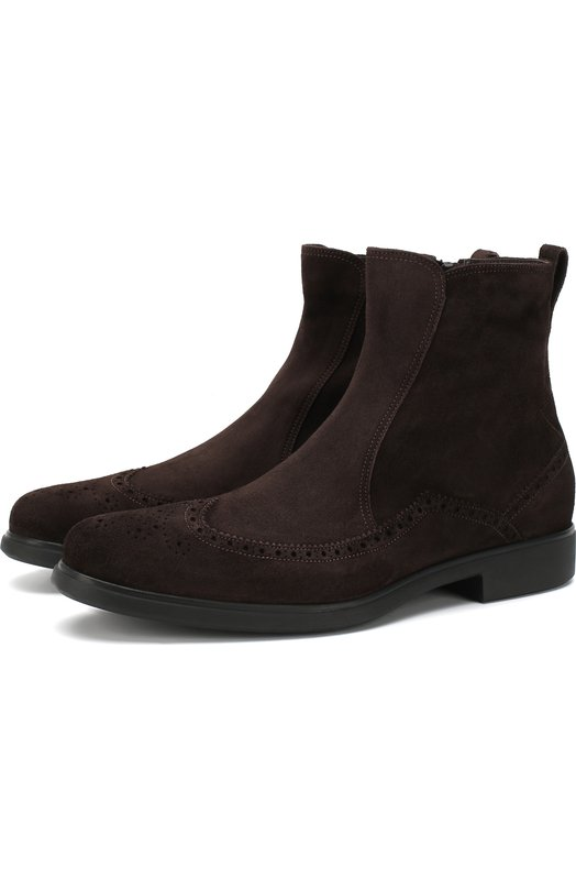 Купить Замшевые ботинки с брогированием Aldo Brue, AB639DA-LND, Италия, Темно-коричневый, Подошва-Резина: 100%; Подкладка-Текстиль: 100%; Кожа: 100%;