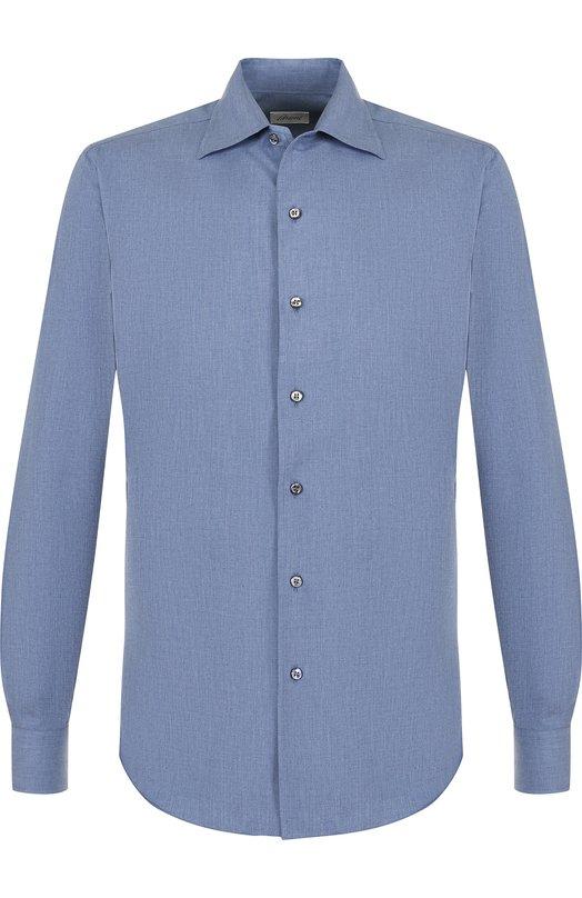 Купить Хлопковая рубашка с воротником кент Brioni, SCAE0L/05028, Италия, Голубой, Хлопок: 100%;