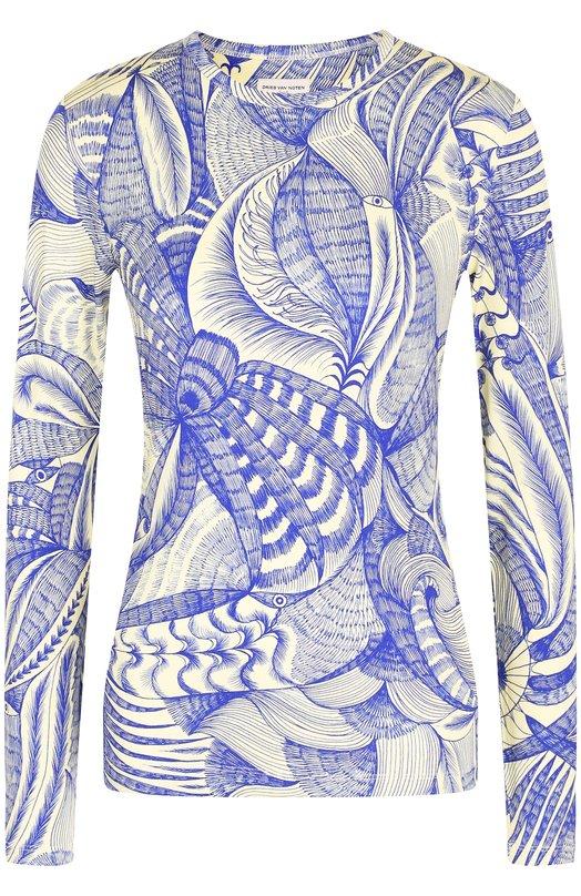 Купить Пуловер с круглым вырезом и принтом Dries Van Noten, 182-31135-6634, Турция, Синий, Вискоза: 94%; Эластан: 6%;