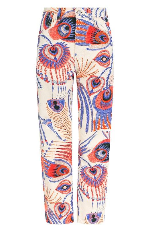 Купить Укороченные джинсы прямого кроя с принтом Dries Van Noten, 182-32414-6091, Тунис, Разноцветный, Хлопок: 100%;