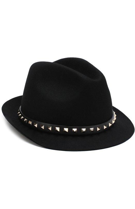 Купить Фетровая шляпа Valentino Garavani Rockstud Valentino, QW2H0005/TLS, Италия, Черный, Фетр/кролик/: 100%;