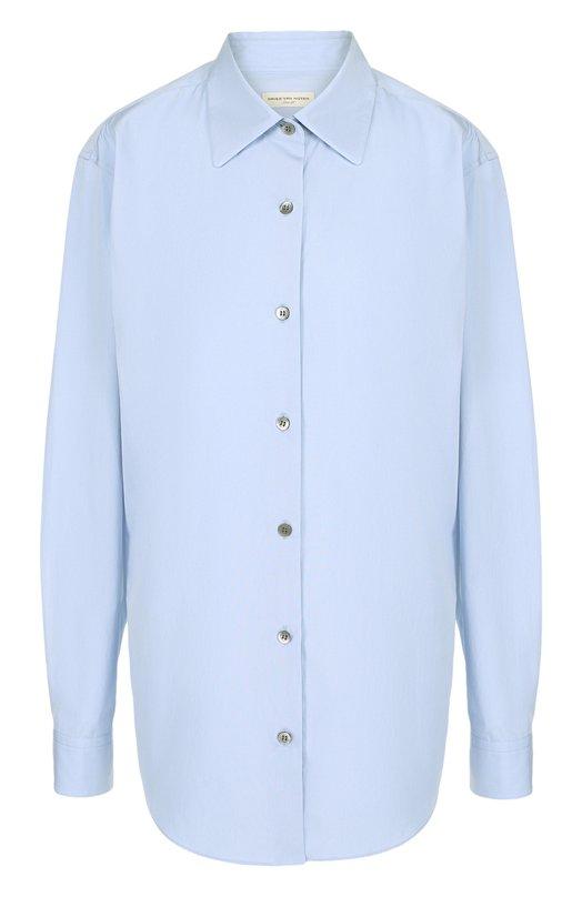 Купить Однотонная хлопковая блуза Dries Van Noten, 182-10744-6269, Португалия, Голубой, Хлопок: 100%;
