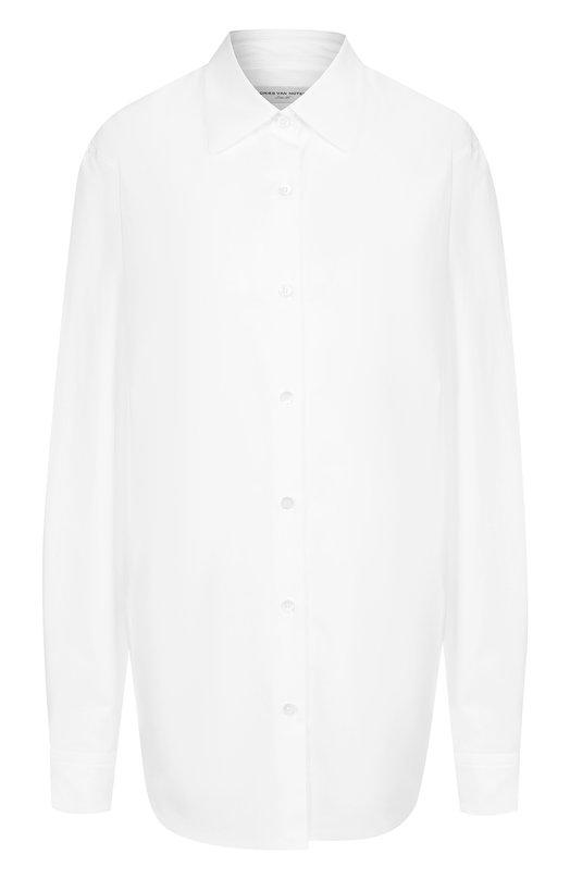 Купить Однотонная хлопковая блуза Dries Van Noten, 182-10744-6269, Португалия, Белый, Хлопок: 100%;