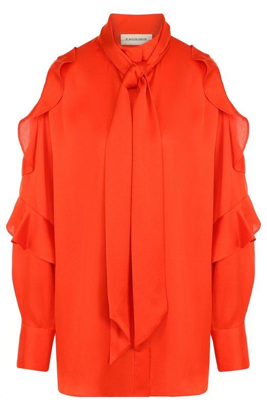 Купить Однотонная блуза с открытыми плечами и оборками By Malene Birger, Q62305015/PALLERN0, Китай, Коралловый, Полиэстер: 100%;