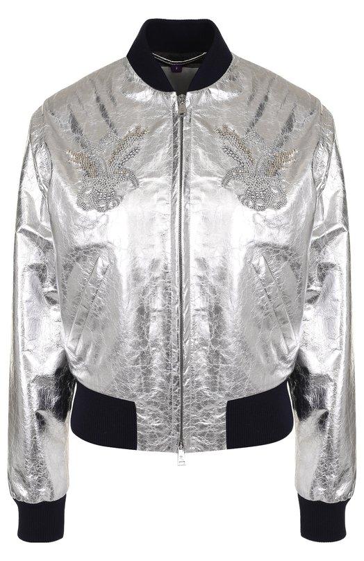 Купить Кожаный бомбер на молнии с декоративной отделкой Ralph Lauren, 290718814, Италия, Серебряный, Кожа: 100%;