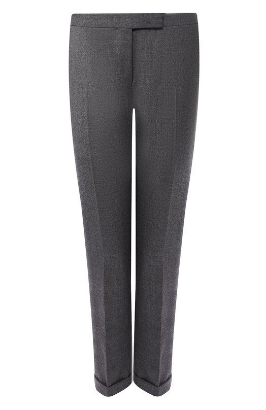 Купить Укороченные шерстяные брюки со стрелками и контрастными лампасами Thom Browne, FTC025A-03532 025, Италия, Темно-серый, Шерсть: 100%;