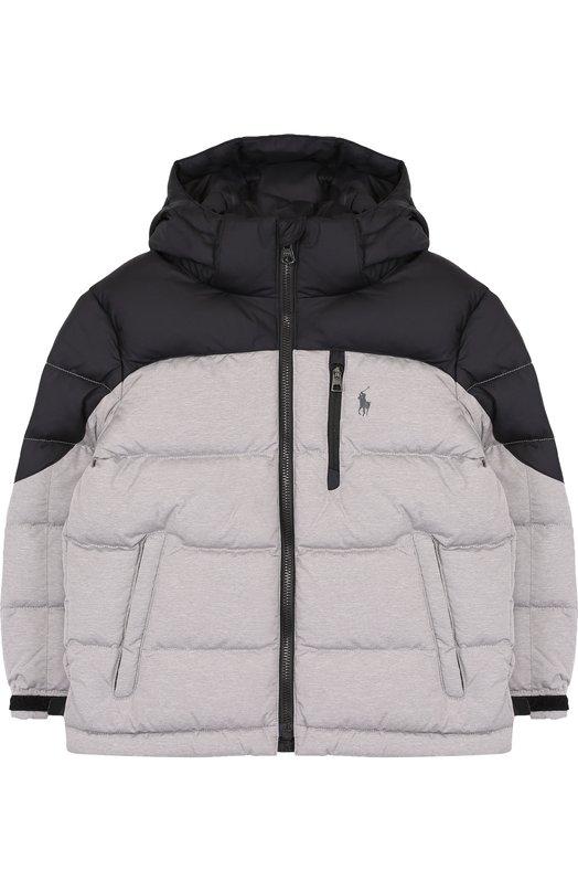 Купить Стеганая куртка на молнии с капюшоном Polo Ralph Lauren, 321703252, Вьетнам, Серый, Полиэстер: 100%;