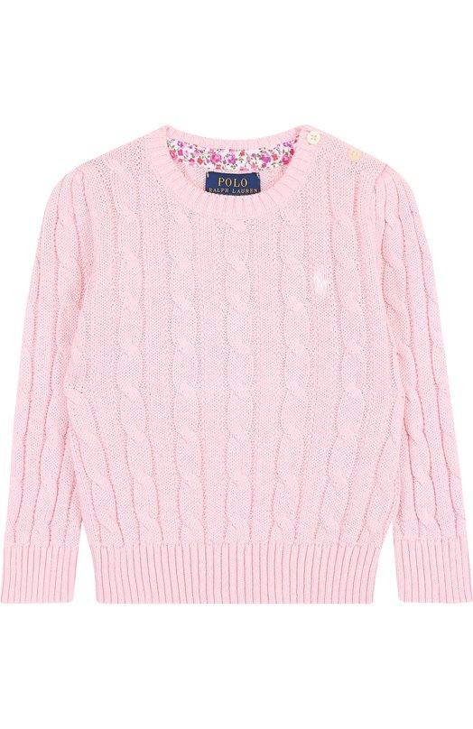 Купить Хлопковый пуловер фактурной вязки Polo Ralph Lauren, 311702214, Китай, Светло-розовый, Хлопок: 100%;