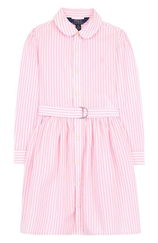 Купить Хлопковое платье-рубашка с поясом Polo Ralph Lauren, 312698863, Индонезия, Розовый, Хлопок: 100%;