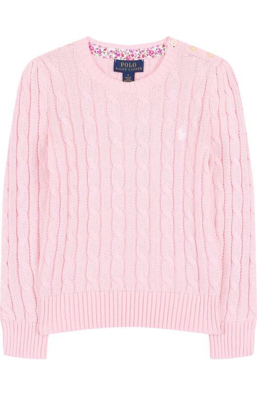 Купить Хлопковый пуловер фактурной вязки Polo Ralph Lauren, 312702214, Китай, Светло-розовый, Хлопок: 100%;