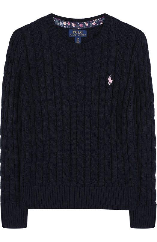 Купить Хлопковый пуловер фактурной вязки Polo Ralph Lauren, 313702214, Китай, Синий, Хлопок: 100%;