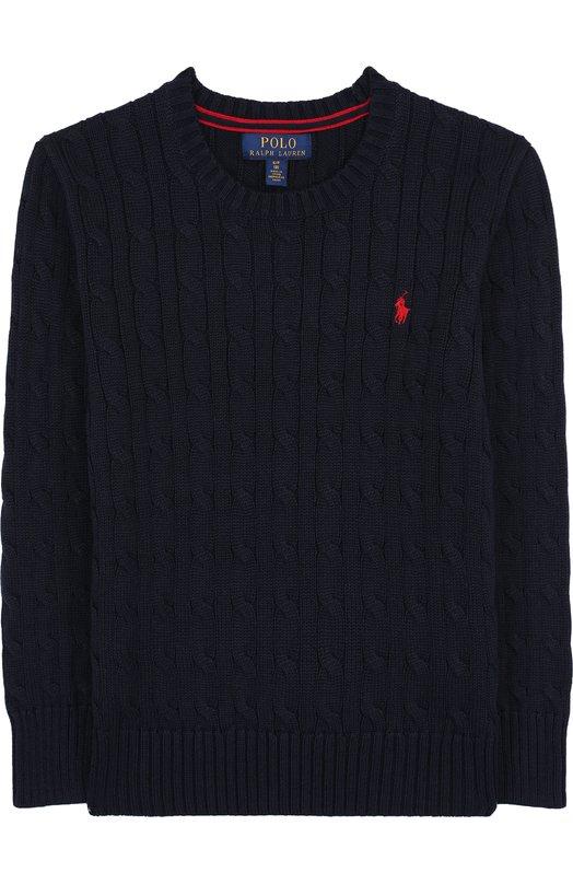 Купить Хлопковый пуловер фактурной вязки Polo Ralph Lauren, 323702674, Китай, Темно-синий, Хлопок: 100%;