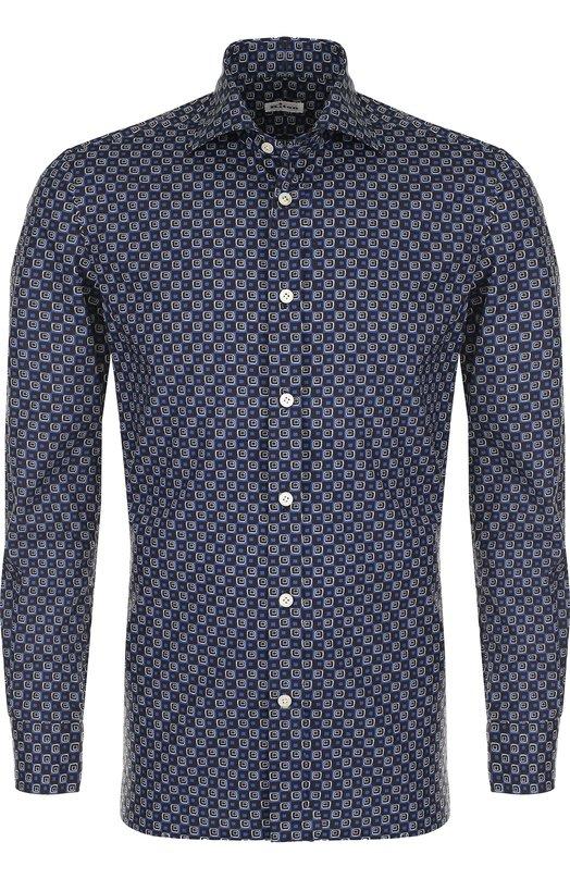 Купить Хлопковая сорочка с воротником акула Kiton, UMCNERH0646301, Италия, Темно-синий, Хлопок: 100%;