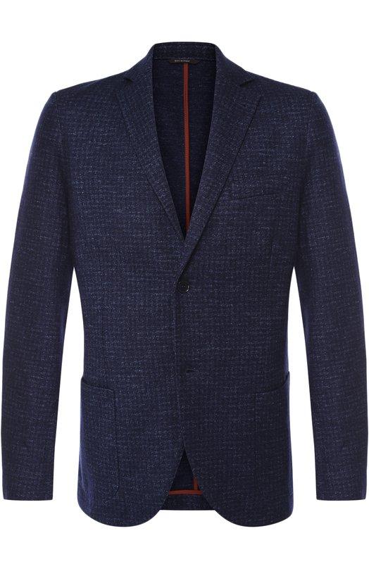 Однобортный пиджак из смеси кашемира и льна с шелком Loro Piana