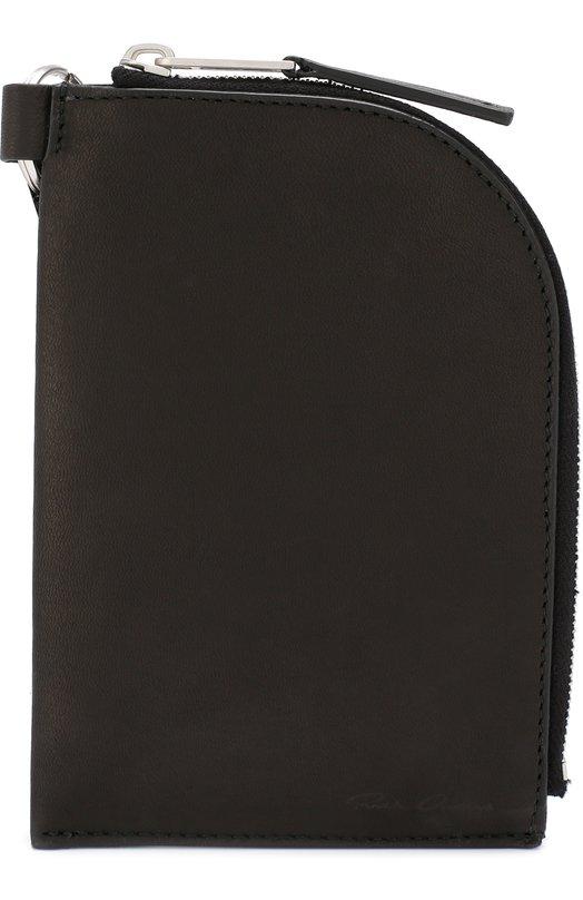 Купить Кожаное портмоне на молнии Rick Owens, RB18F0203/LCW, Италия, Черный, Кожа: 100%;