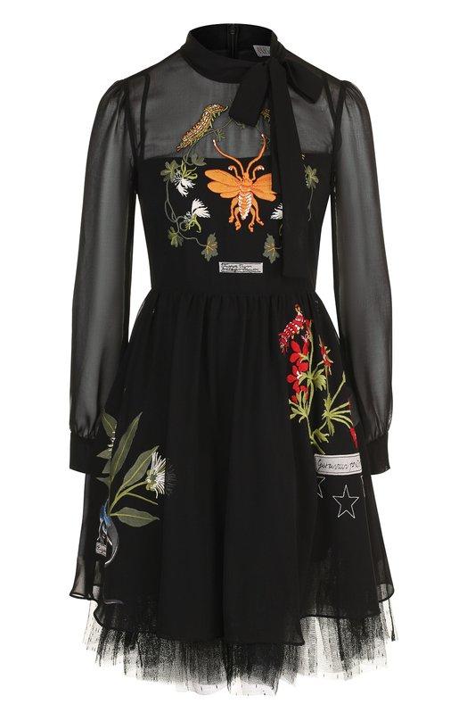 Купить Приталенное мини-платье с декоративной вышивкой и воротником аскот REDVALENTINO, QR3VA09R/3UD, Китай, Разноцветный, Полиэстер: 100%;