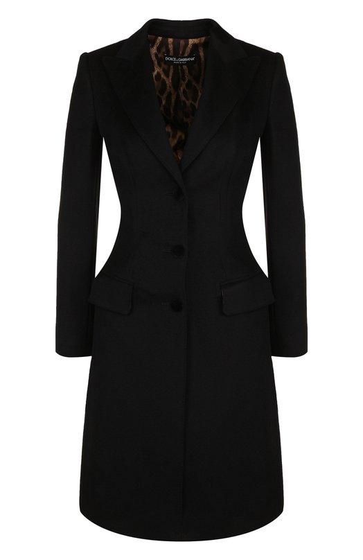 Купить Приталенное шерстяное пальто Dolce & Gabbana, F0Q41T/FU2Y6, Италия, Черный, Подкладка-полиэстер: 97%; Подкладка-эластан: 3%; Шерсть: 100%;