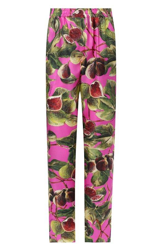 Купить Шелковые брюки с эластичным поясом и принтом Dolce & Gabbana, FTAPVT/HS1JV, Италия, Розовый, Шелк: 100%;