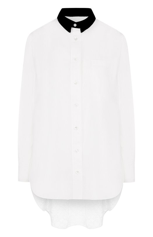 Купить Блуза свободного кроя с кружевной вставкой на спине Sacai, 18-03973, Япония, Белый, Вискоза: 65%; Полиамид: 35%;