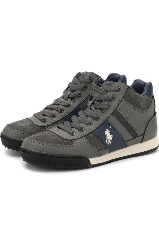 Купить RF100450/JUNI0R, Высокие кожаные кеды на шнуровке и молнии Polo Ralph Lauren, Китай, Серый, Кожа: 85%; Полиуретан: 15%; Подкладка-хлопок: 100%; Подошва-резина: 100%;, Мужской, Спортивная обувь