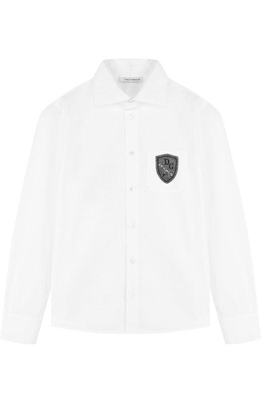 Купить Хлопковая рубашка с нашивкой Dolce & Gabbana, L4JS24/G70KK/2-6, Италия, Белый, Хлопок: 97%; Эластан: 3%;