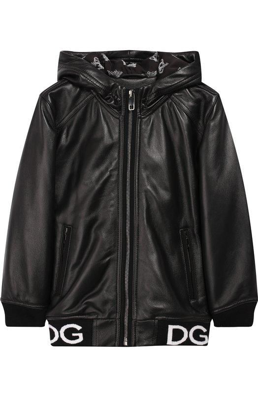 Купить Кожаная куртка на молнии с капюшоном Dolce & Gabbana, L41B77/FUL89/2-6, Италия, Черный, Кожа: 100%;