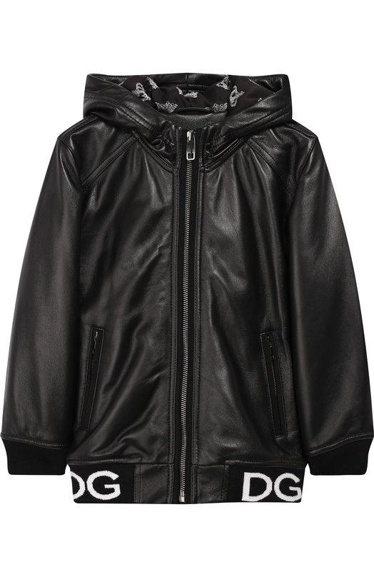 Купить Кожаная куртка на молнии с капюшоном Dolce & Gabbana, L41B77/FUL89/8-14, Италия, Черный, Кожа: 100%;