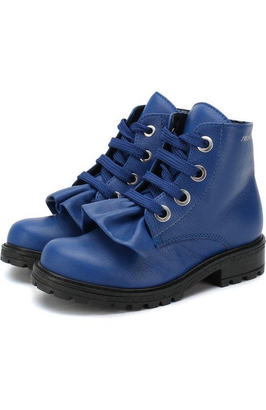 Купить Кожаные ботинки на шнуровке с молнией Simonetta, 58238/18-27, Италия, Синий, Подошва-резина: 100%; Подкладка-кожа: 100%; Кожа: 100%;