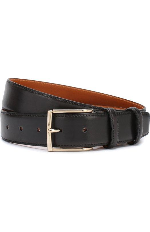 Купить Кожаный ремень с металлической пряжкой Santoni, CM35V0003AA3HVVDG46, Италия, Темно-серый, Кожа: 100%;