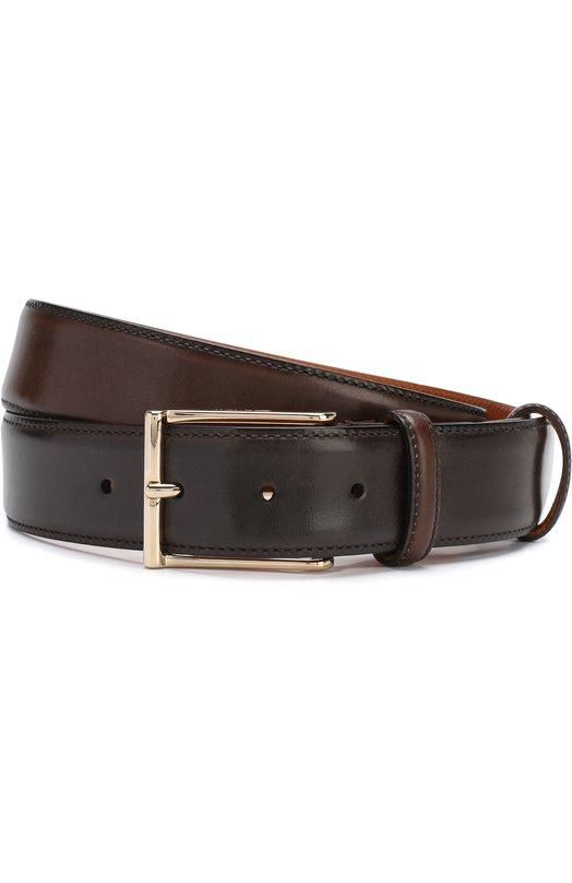 Купить Кожаный ремень с металлической пряжкой Santoni, CM35V0003AA3HVVDT50, Италия, Темно-коричневый, Кожа: 100%;