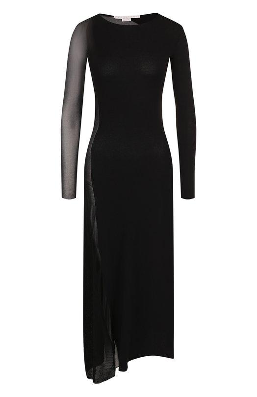 Купить Приталенное платье-миди с полупрозрачными вставками Stella McCartney, 521660/S1887, Италия, Черный, Вискоза: 83%; Полиэстер: 17%;