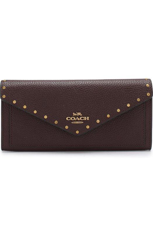 Купить Кожаный кошелек с клапаном Coach, 31426, Таиланд, Бордовый, Кожа натуральная: 100%;