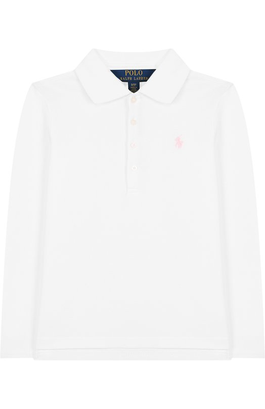 Купить Хлопковое поло с длинными рукавами Polo Ralph Lauren, 311698593, Китай, Белый, Хлопок: 98%; Эластан: 2%;