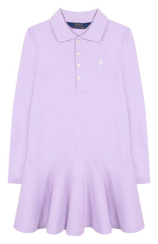 Купить Хлопковое платье с логотипом бренда Polo Ralph Lauren, 311698758, Китай, Фиолетовый, Хлопок: 98%; Эластан: 2%;