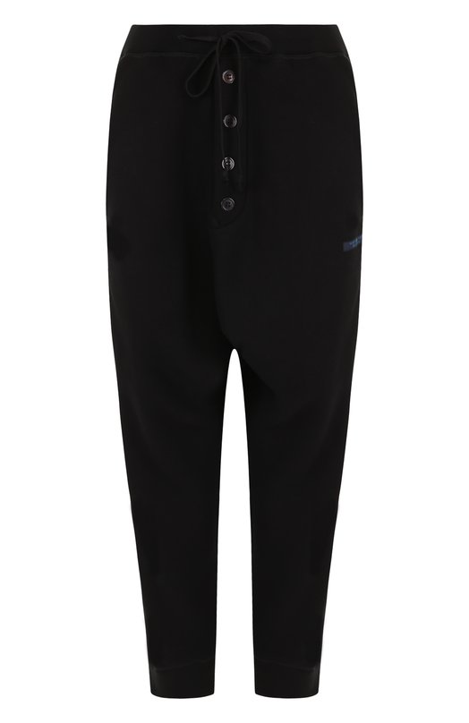 Купить Укороченные хлопковые брюки с эластичным поясом Yohji Yamamoto, FI-T53-006, Япония, Черный, Хлопок: 85%; Полиэстер: 15%;