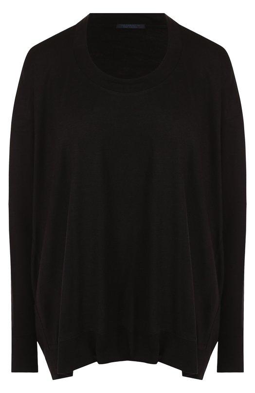 Купить Однотонный пуловер свободного кроя с круглым вырезом Yohji Yamamoto, FI-T56-500, Япония, Черный, Акрил: 90%; Шерсть: 10%;