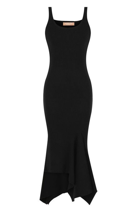Купить Шерстяное платье-миди асимметричного кроя Michael Kors Collection, MKPL636A/KL927, Китай, Черный, Шерсть: 100%;