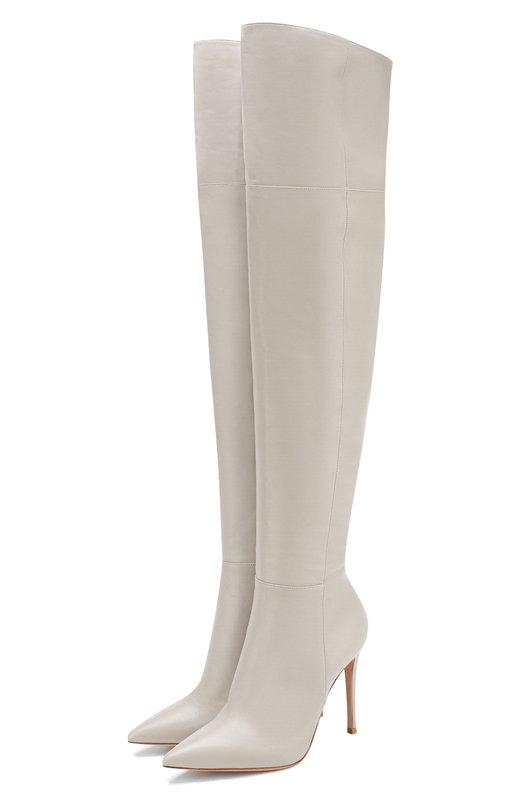 Купить Кожаные ботфорты на шпильке Gianvito Rossi, G80698.15RIC.NVIFUM0, Италия, Серый, Подошва-кожа: 100%; Подкладка-кожа: 100%; Кожа: 100%;