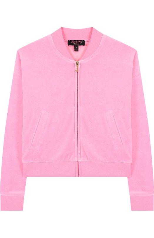 Купить Хлопковый кардиган на молнии с принтом на спине Juicy Couture, GTKJ131900, Вьетнам, Розовый, Хлопок: 78%; Полиэстер: 22%;