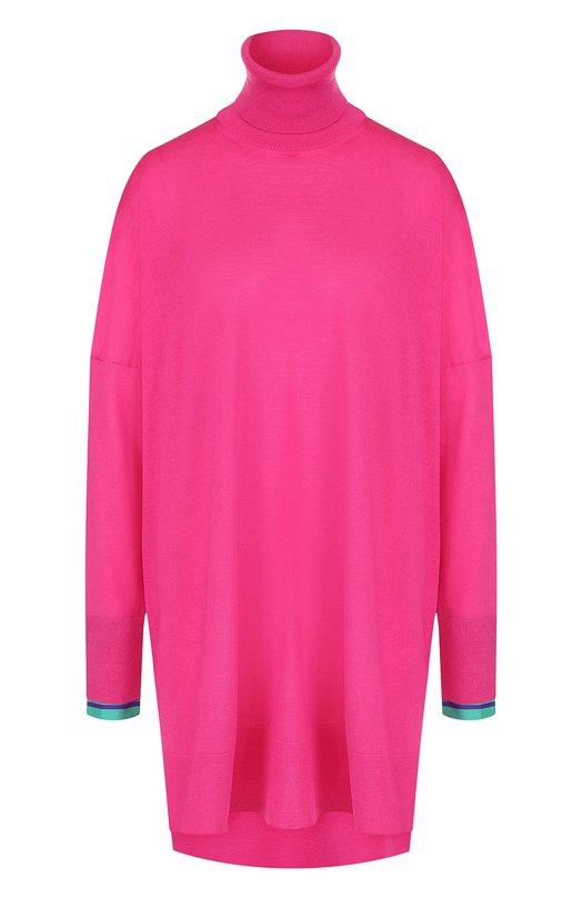 Купить Удлиненный шерстяной пуловер свободного кроя с воротником-стойкой Emilio Pucci, 8RKM33/8R982, Италия, Фуксия, Шерсть: 100%;