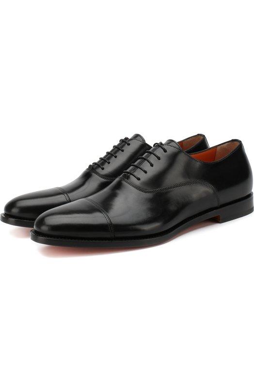 Кожаные оксфорды на шнуровке Santoni