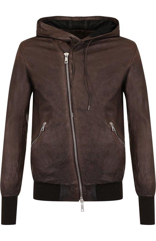 Купить Кожаный бомбер на косой молнии с капюшоном Giorgio Brato, GU19F5401V, Италия, Темно-коричневый, Подкладка-текстиль: 100%; Кожа: 100%;