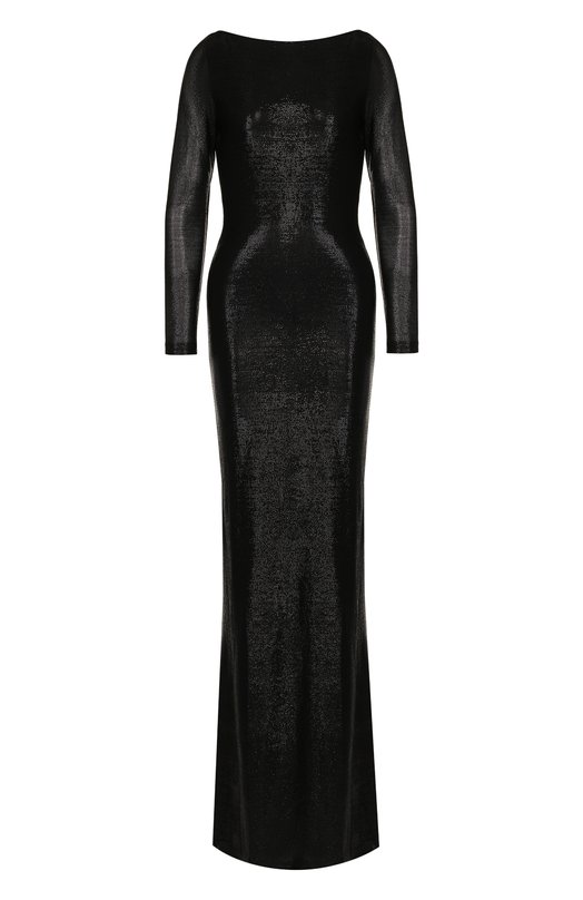 Купить Приталенное платье-макси с открытой спиной Dsquared2, S75CU0802/S23272, Италия, Черный, Вискоза: 83%; Полиэстер: 17%;